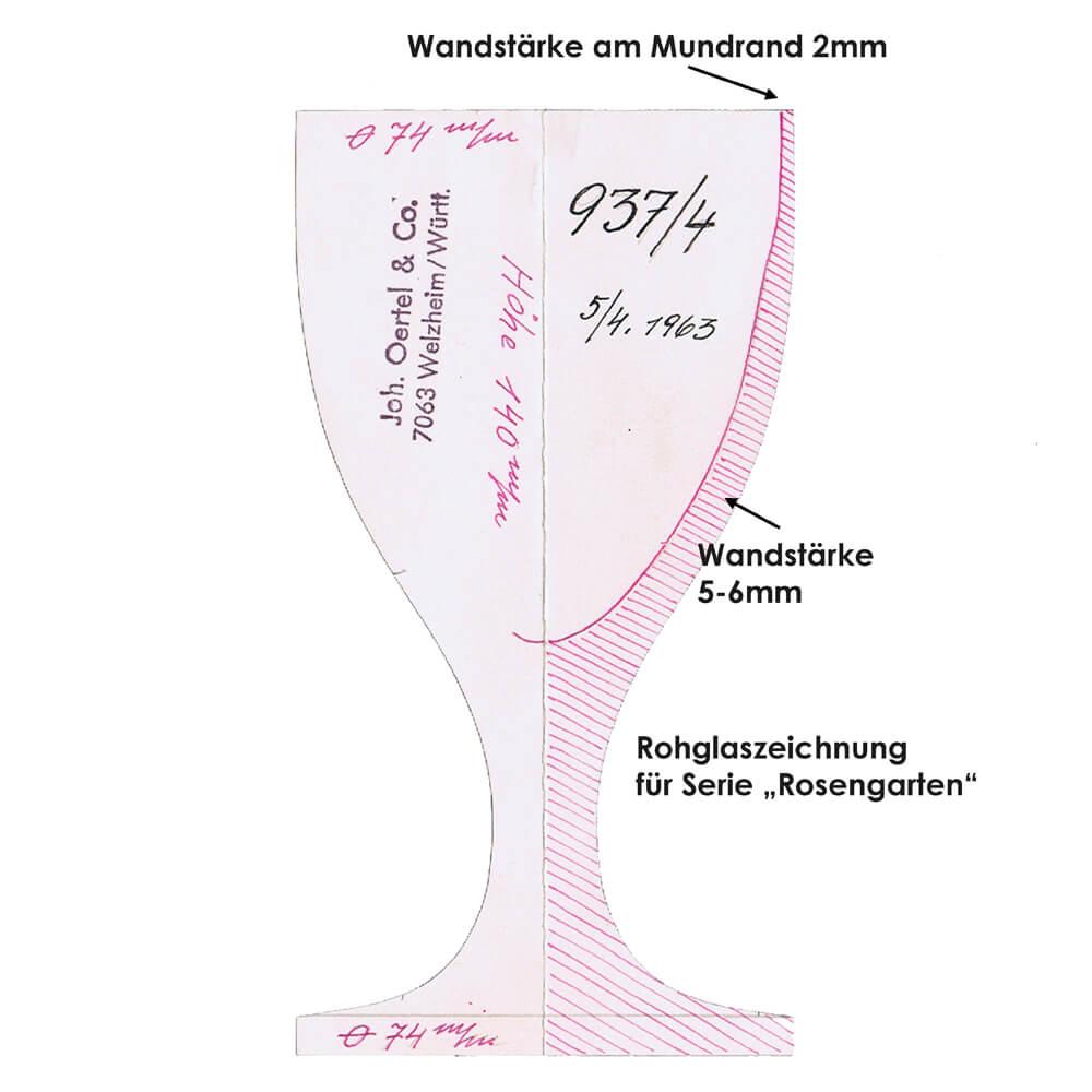 Kristallglas Formzeichnung